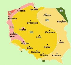 strefy mrozoodporności wPolsce; źródło: Wikipedia